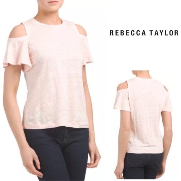 331d4923ca9 Rebecca Taylor Cold Shoulder Linen Jersey Tee pink
